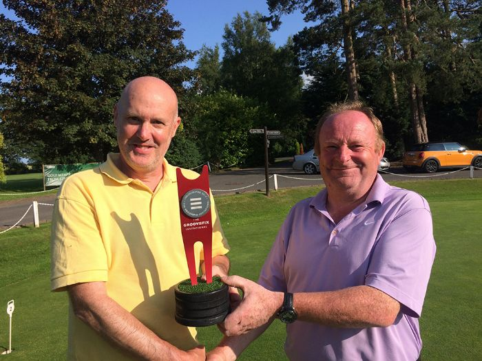 Mark Hibbert is presented with the GrooveFix invitational Trophy 2015